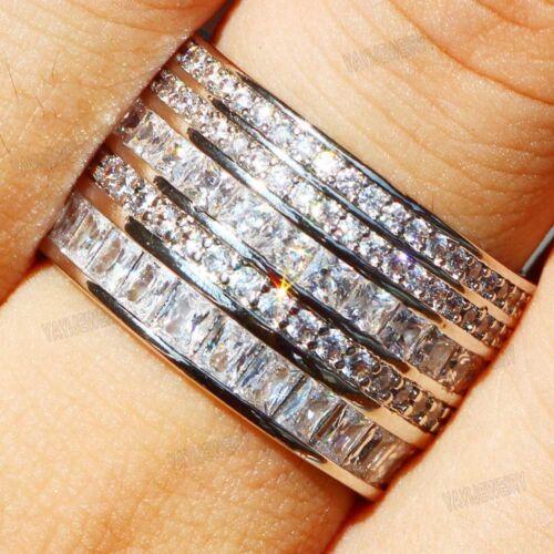 Handmade princesse Cut blanc saphir argent 925 Rempli De Femmes Mariage Bande Bague