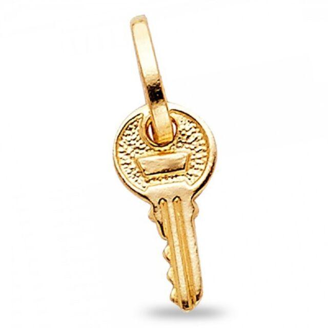 Solid 14k Yellow Gold Key Pendant Key To My Heart Charm Classic Love Design Tiny