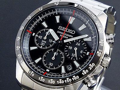 SEIKO SSB031P1 Tachymeter Chronograph Black Dial Men's Watch From Japan