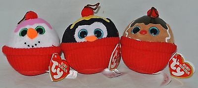 "2014 Ty Baby Beanies Set of 3 Holiday FLAKES-GELATO-COCO  3/"" size RETIRED"