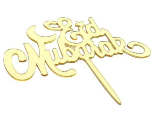 EID MUBARAK CAKE TOPPER-GOLD MIRROR SHINY ACRYLIC LARGE SIGN-14CM-RAMADAN PARTY