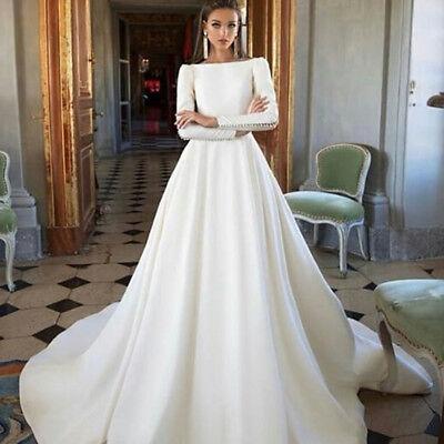 Elegant A Line Satin White Ivory Wedding Dress Long Sleeve Open Back Bridal Gown Ebay