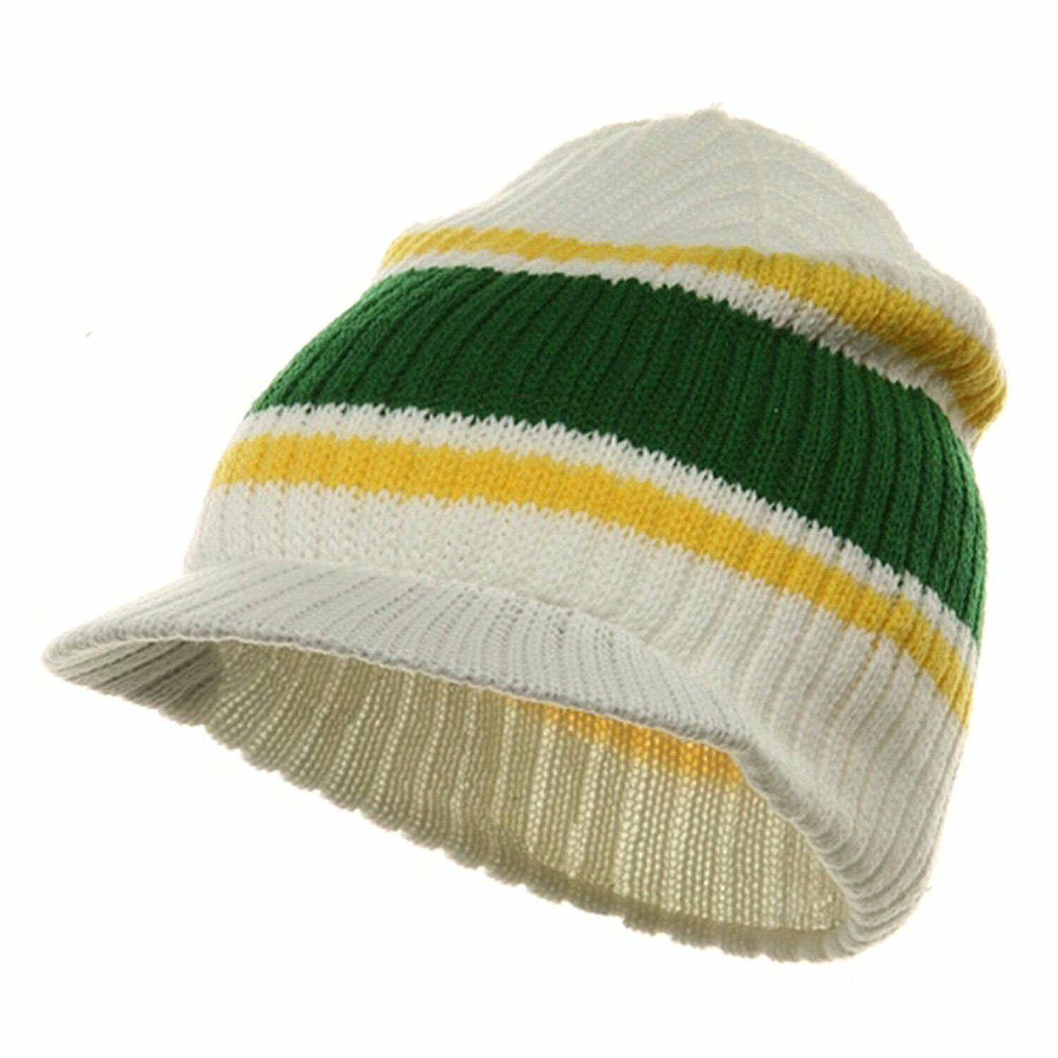 245807c3f05 Details about White Green Yellow Striped Campus Visor Jeep Skull Knit  Winter Beanie Cap Hat