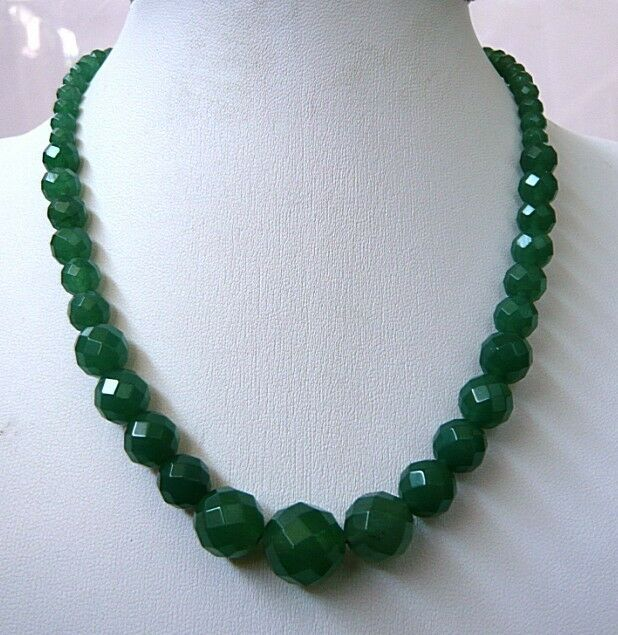 """Green 6-14mm Faceted Natural Emerald Round Beads Necklace 18"""""""