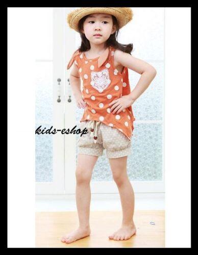 GIRL SUMMER HOLIDAY 2 PIECE SET OUTFIT POLKA DOT TOP T-SHIRT SHORTS PANTS 2-7Y