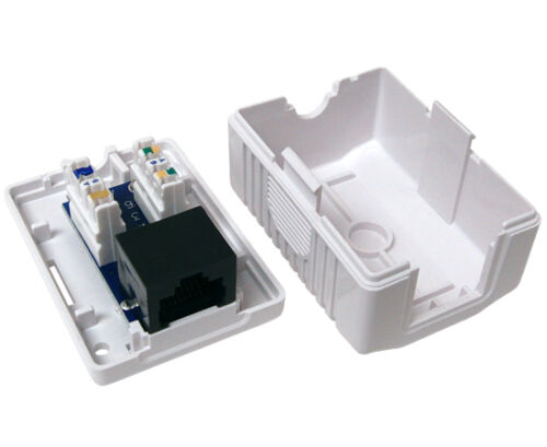 10x Cat5E 1 Port Pre-wired Universal Surface Mount Box White SM1-259//1P//WH