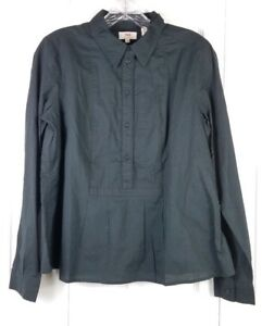 NWT-LEVI-039-S-womens-size-M-black-half-button-down-long-sleeved-cotton-blouse-top