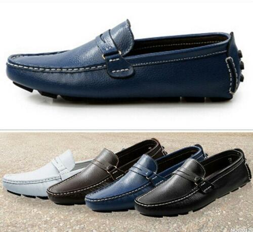 Mens British Casual Leather Slip On Moccasin Loafers Gommino Driving Shoes SZ