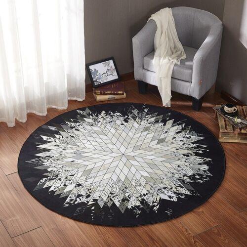 Round Floor Rug Living Room Indoor Carpet Bedroom Hallway Mat Geometric Pattern