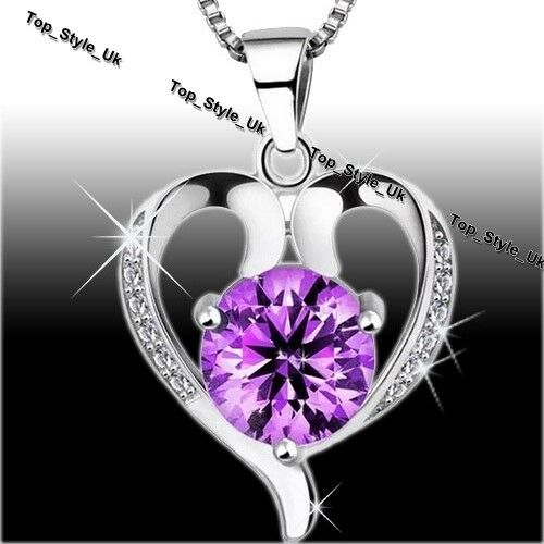 Amethyst Rose Necklace Silver 925 Jewellery Christmas Birthday Gifts For Her A1