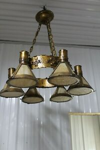 Heavy-Large-Arts-amp-Crafts-Hanging-Light-Fixture-Slag-Glass-Shade-Copper-Hammered