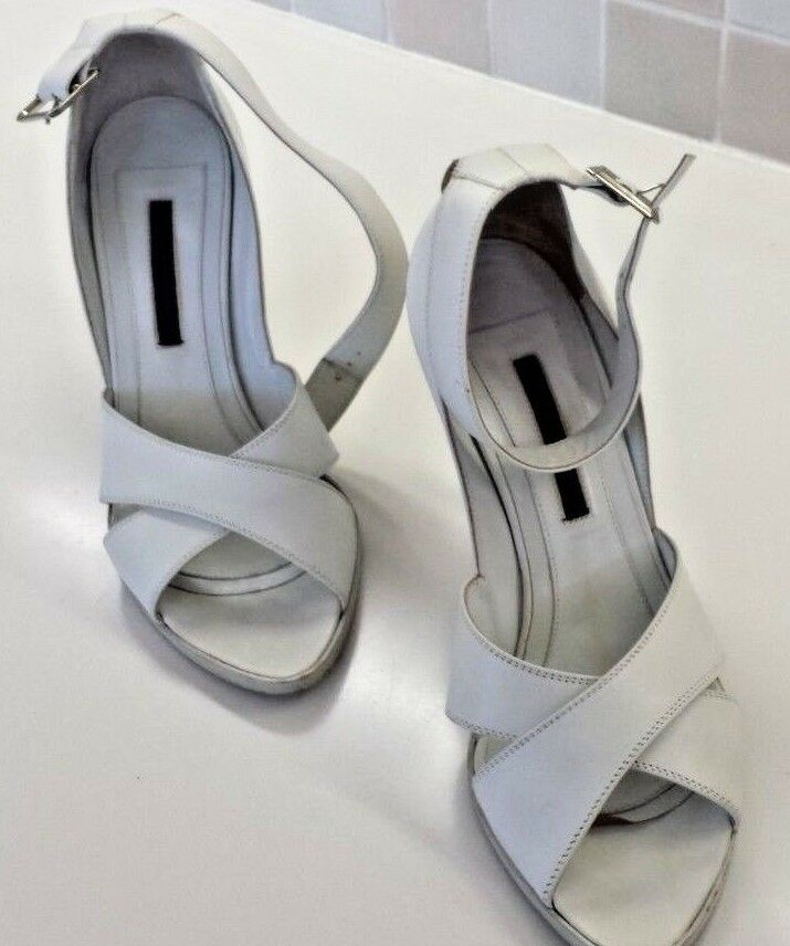 Narciso Rodriguez Stiletto Weiß Leder Sandale Heel Stiletto Rodriguez Ankle Strap Buckle 38.5 8.5 fdf59d