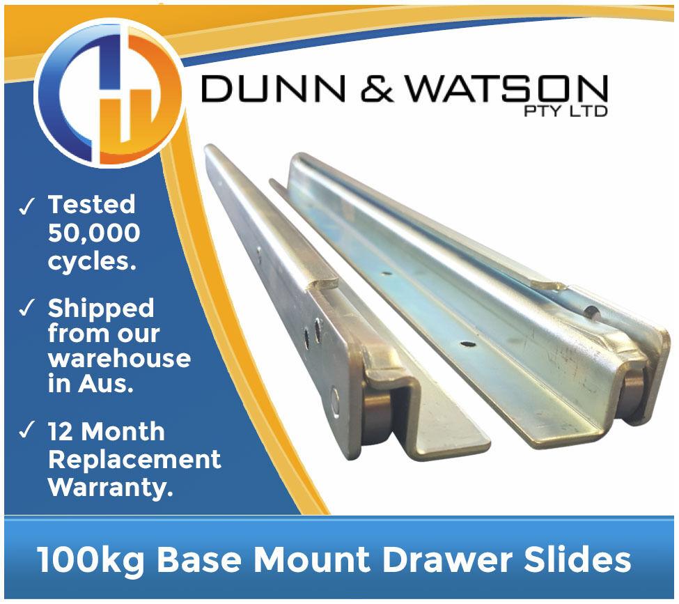1600mm 100kg Base Mount Drawer Slides   Fridge Runners - Draw Trailers Toolbox