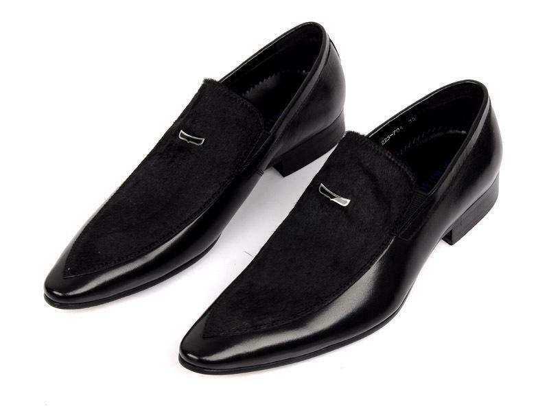 Mens  Mohair slip on casual business leather shoes loafers dress formal Sz