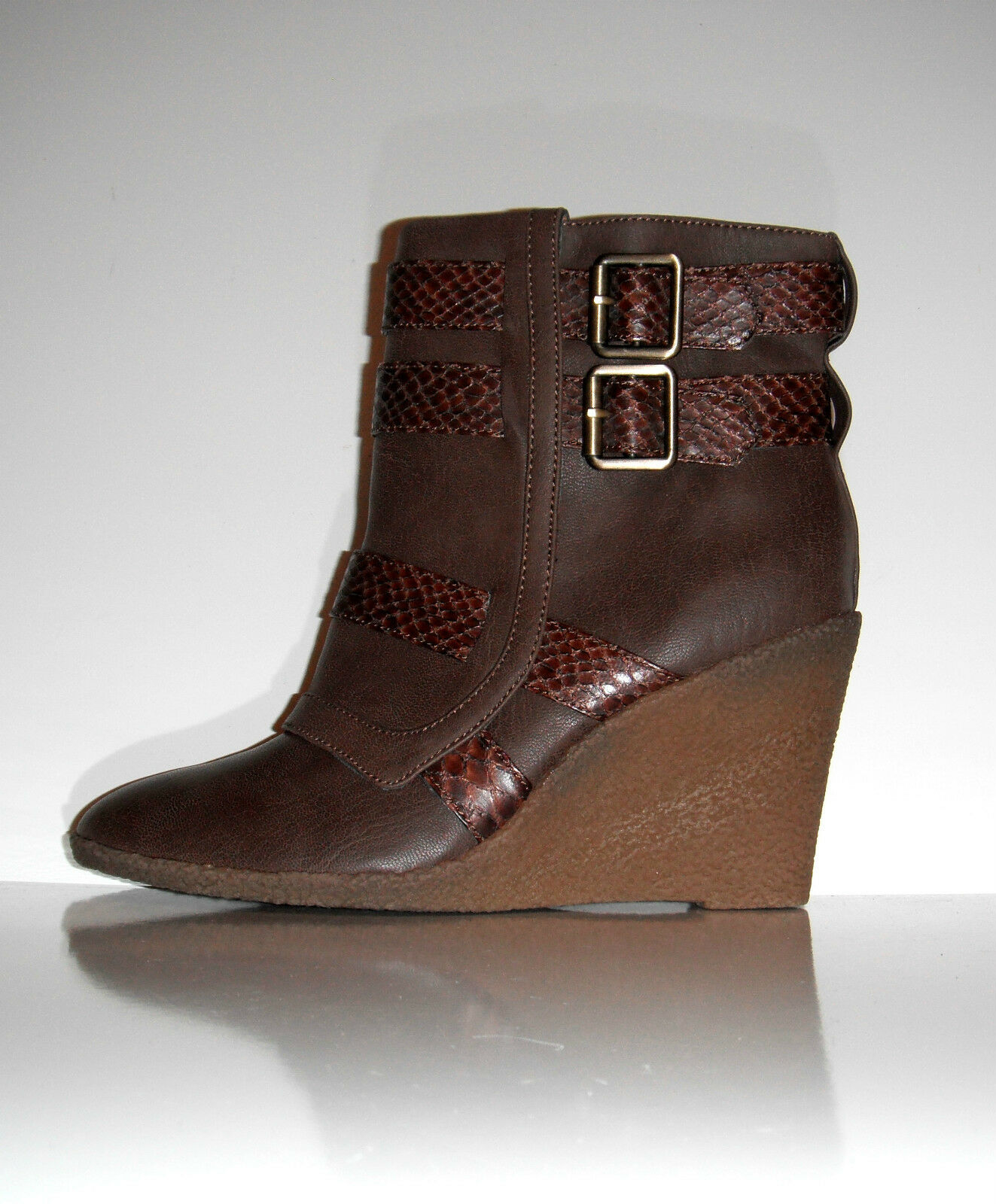 New Kathy Van Zeeland Montana Brown Wedge Ankle Comfortable Boots sz 10