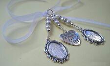 Stunning Ivory Bridal Bouquet Wedding Memory Charm, 2 Oval Cameo Photo Frame
