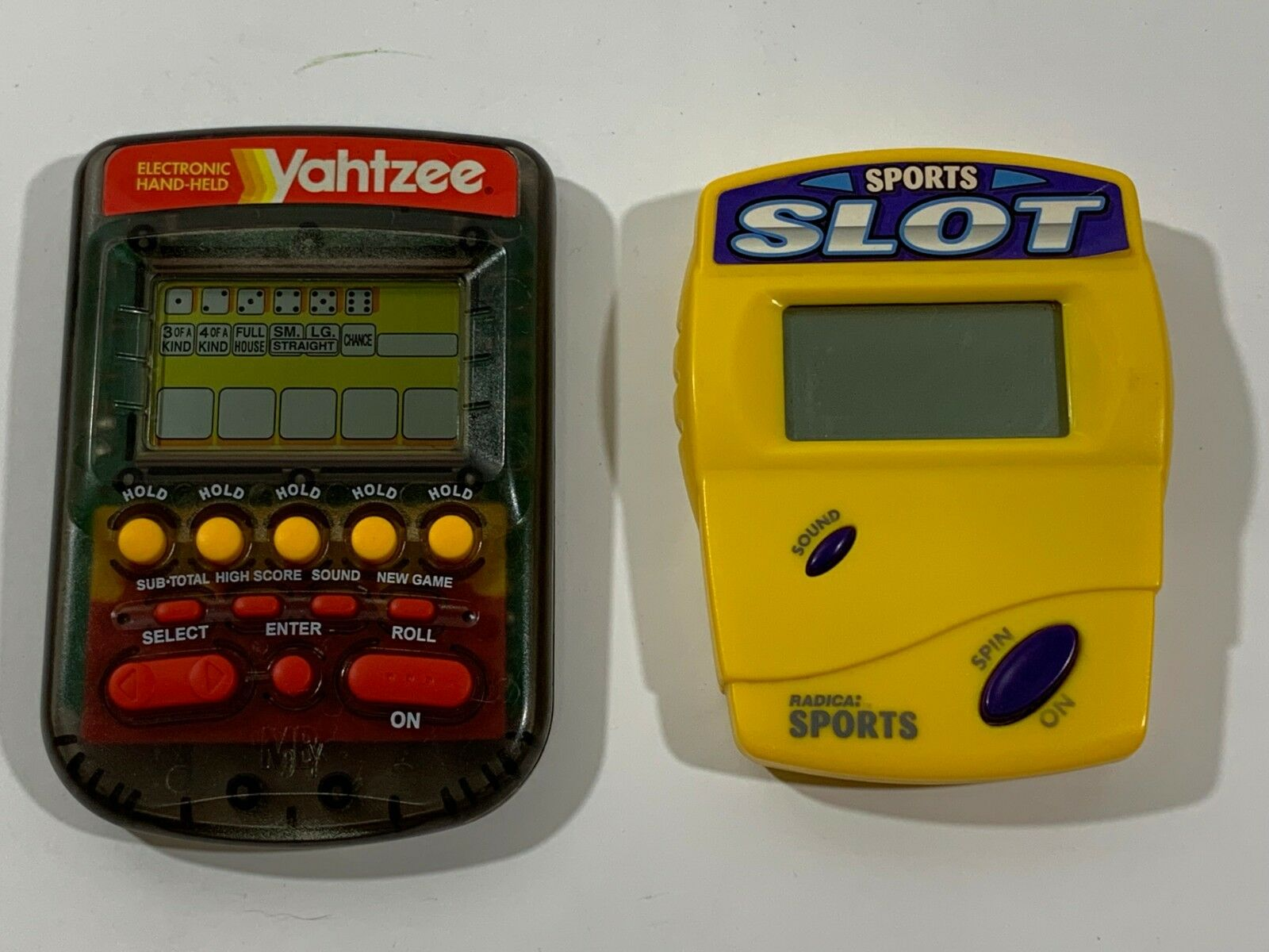 Lot of 2 - Radica SPORT CASINO SLOT & YAHTZEE Hand Held Electronic Game Tested