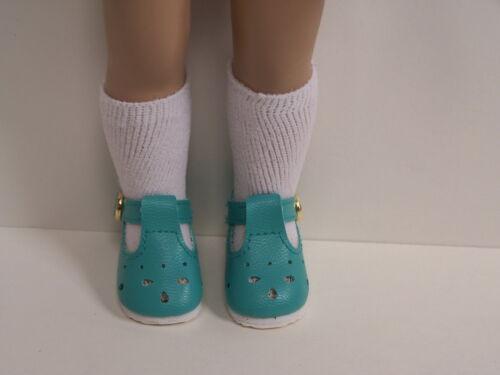 """AQUA T-Strap Cut Out Doll Shoes For 10/"""" Ann Estelle Sophie Patsy Debs"""