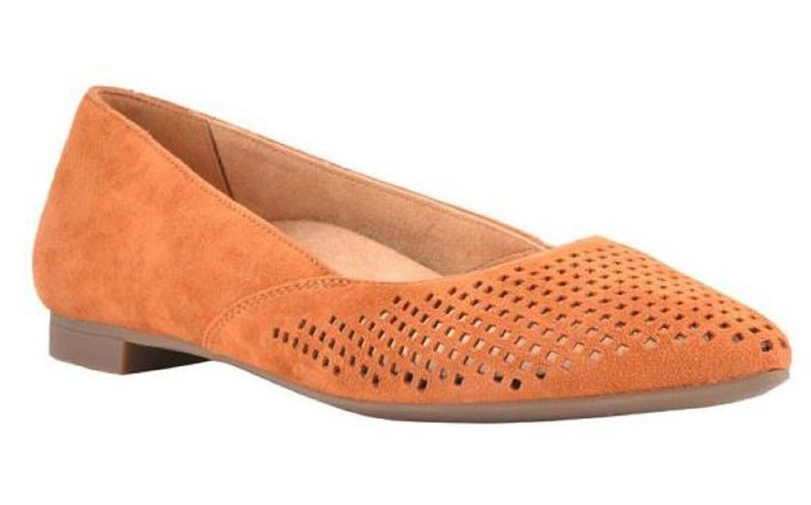 Vionic Orthaheel GEM POSEY Kid Suede Ballet Flats Shoes CARAMEL SIZE 8 M NIB