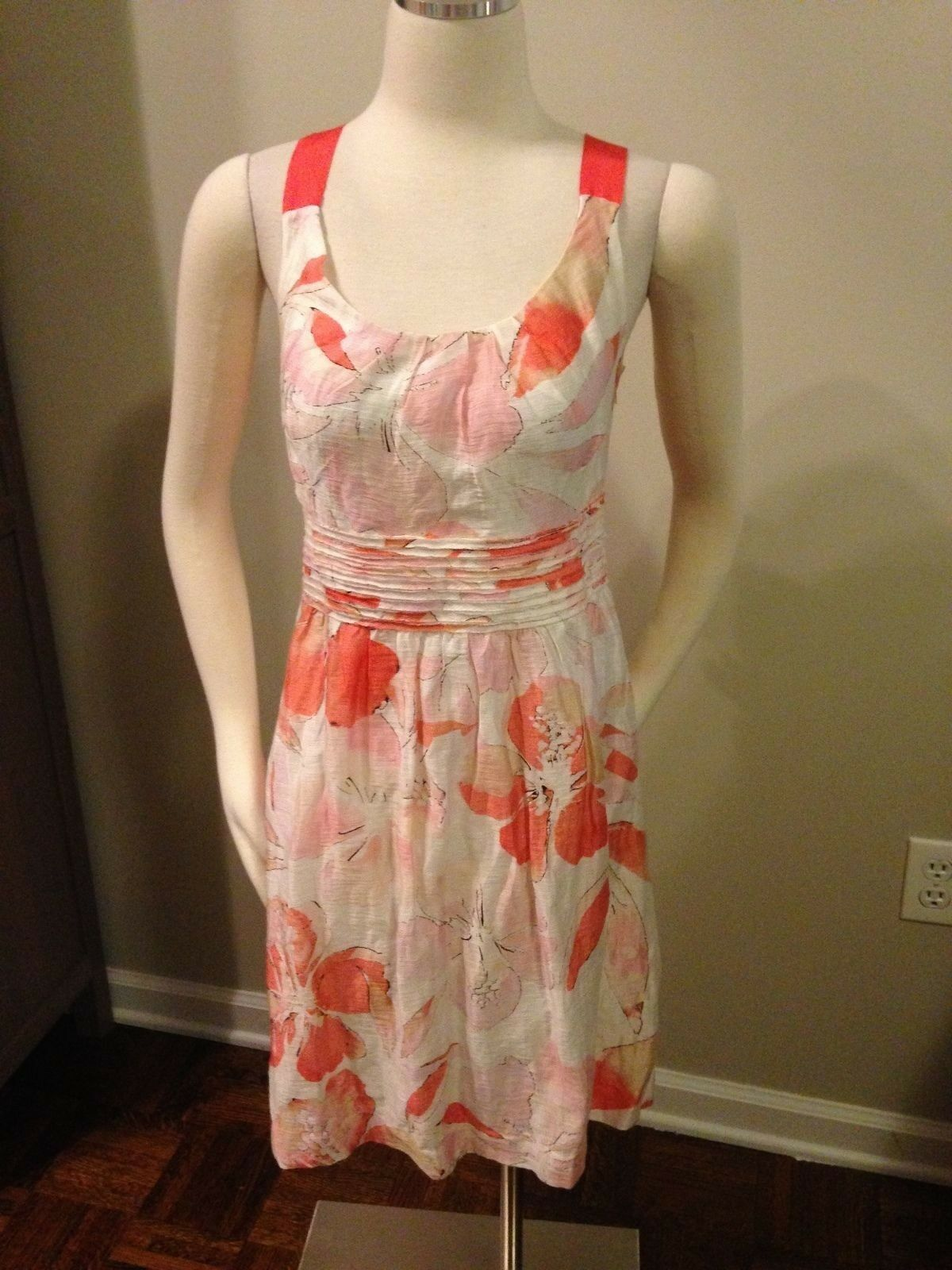 AnnTaylor Loft White Coral Blush Pink Floral Linen Sheen Blend Dress 8 Excellent