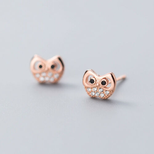 Arete Baby-búhos reales Sterling plata 925 aretes lechuza señora chica