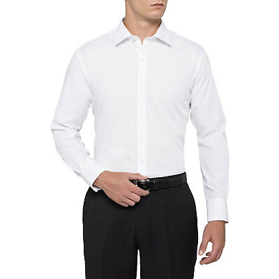 NEW Van Heusen Euro White Cotton/Polyester Business Shirt