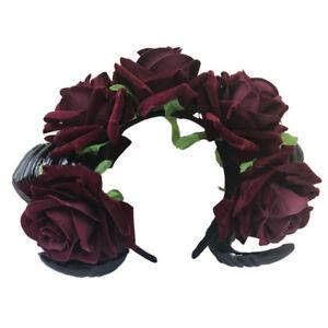 Vintage Sheep Horn Rose Flower Headband Gothic Horror Horns Halloween ball Gift
