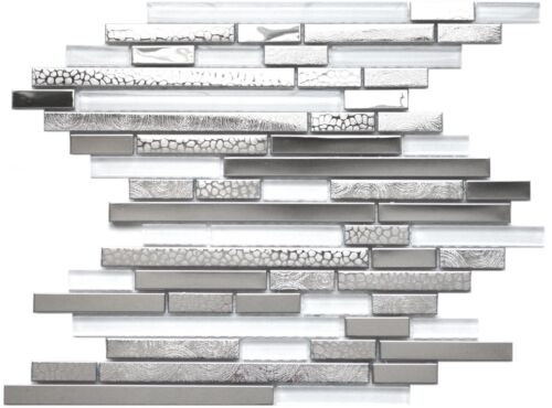 Backsplash Wall Fireplace Modern Random White Glass Stainless Steel Mosaic Tile