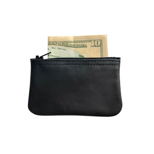 Purse Change U.S.A New Mens or Womens Black Leather Zippered Coin Pouch