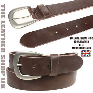 Made In England Brown In Full Grain Hide Leather Belt 35mm For Mens