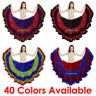 Mix Color Satin 25 Yard 5 Tiered Gypsy Skirts Belly Dance Gothic Flamenco Jupe