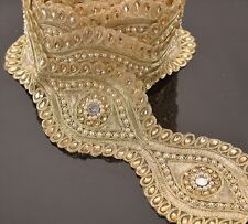 Hand Beaded Bridal Border 9 YD Trim Golden Craft Lace Mirror Work Pearl Beads