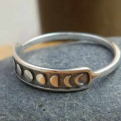 sizes 6-10 Moon Phase Silver Ring