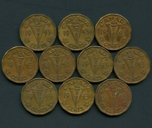 Lot-of-10-Canada-1943-Tombac-Victory-5-Cent-Coins