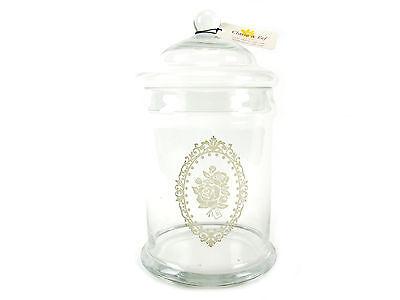 Clayre & Eef Glasdose mit Deckel, Landhausstil, shabby Stil, Ornament mit Blume,