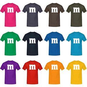 T-Shirt-M-amp-M-Schoko-Linse-Gruppenkostum-Karneval-Fasching-15-Farben-Herren-XS-5XL