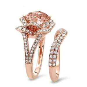 4-Ct-Cushion-Cut-Morganite-Synt-Diamond-Solitaire-Set-Ring-Rose-Gold-Fnsh-Silver