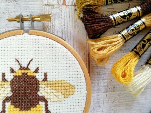Bee Cross Stitch Kit bricolaje Kit de bordado de insectos diseño moderno Bumblebee Regalo