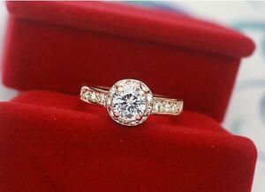 Luxus-Damen-Ring-Rose-Gold-18K-pl-Kristall-Verlobungsring-Geschenk-Valentinstag