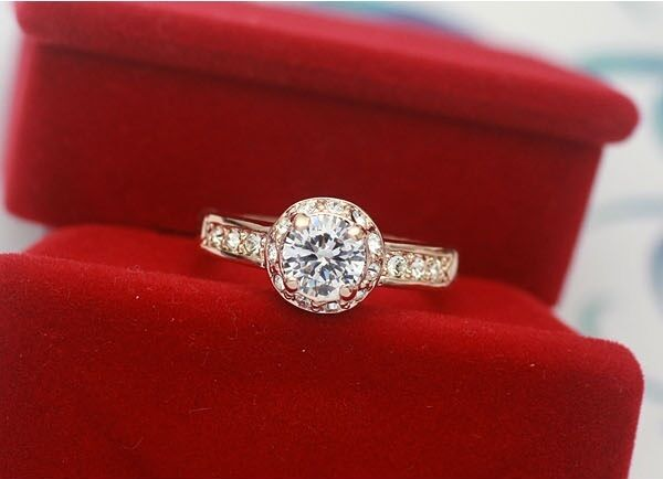 Luxury Women's Ring Rose Gold 18 K Pl. Crystal Engagement Gift Valentine's Day