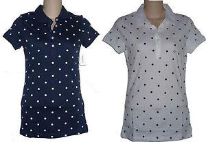 Womens-AEROPOSTALE-Polka-Dot-Polkadot-Polo-Shirt-NWT-6455