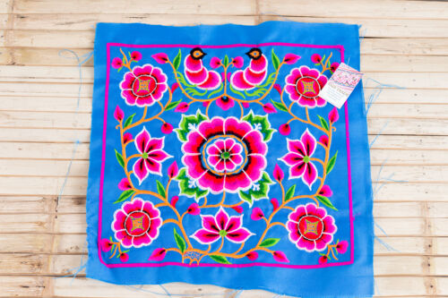 Blue Silk Worm Hmong Embroidered Fabric Hill Tribe Ethnic Fashion Thailand