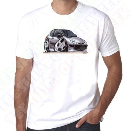 Wickedartz Cartoon Voiture Argent 206 Homme 100/% Coton T-shirt blanc