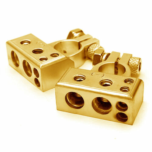 POSITIVE /& NEGATIVE Car Battery Terminal Clamp Copper Alloy Connector Cover Gold