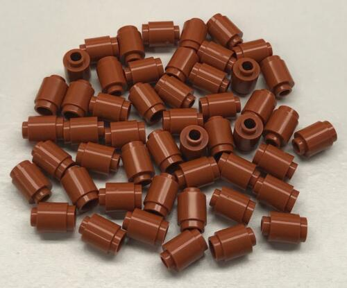 50 New Lego Dark Orange Bricks Round 1x1 Open Stud Lot 3062b