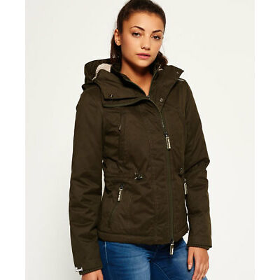 New Womens Superdry Microfibre Boxy Snorkle Jacket Army