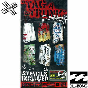 Details about BILLABONG 'TAG A TRUNK' MENS BOARDSHORTS CUSTOMIZABLE  STENCILS SMALL 32