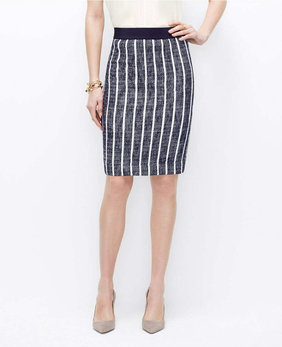 Ann Taylor Striped Tweed Pencil Skirt Size 4 Petite NWT Dark Sky color
