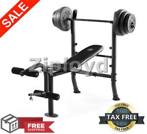 weight lifting bench w/ weights set press bar home gym