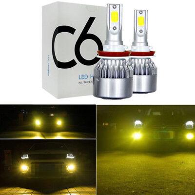 2x 9006 HB4 3000K Golden Yellow High Power COB LED Fog Lights Driving  DRL US